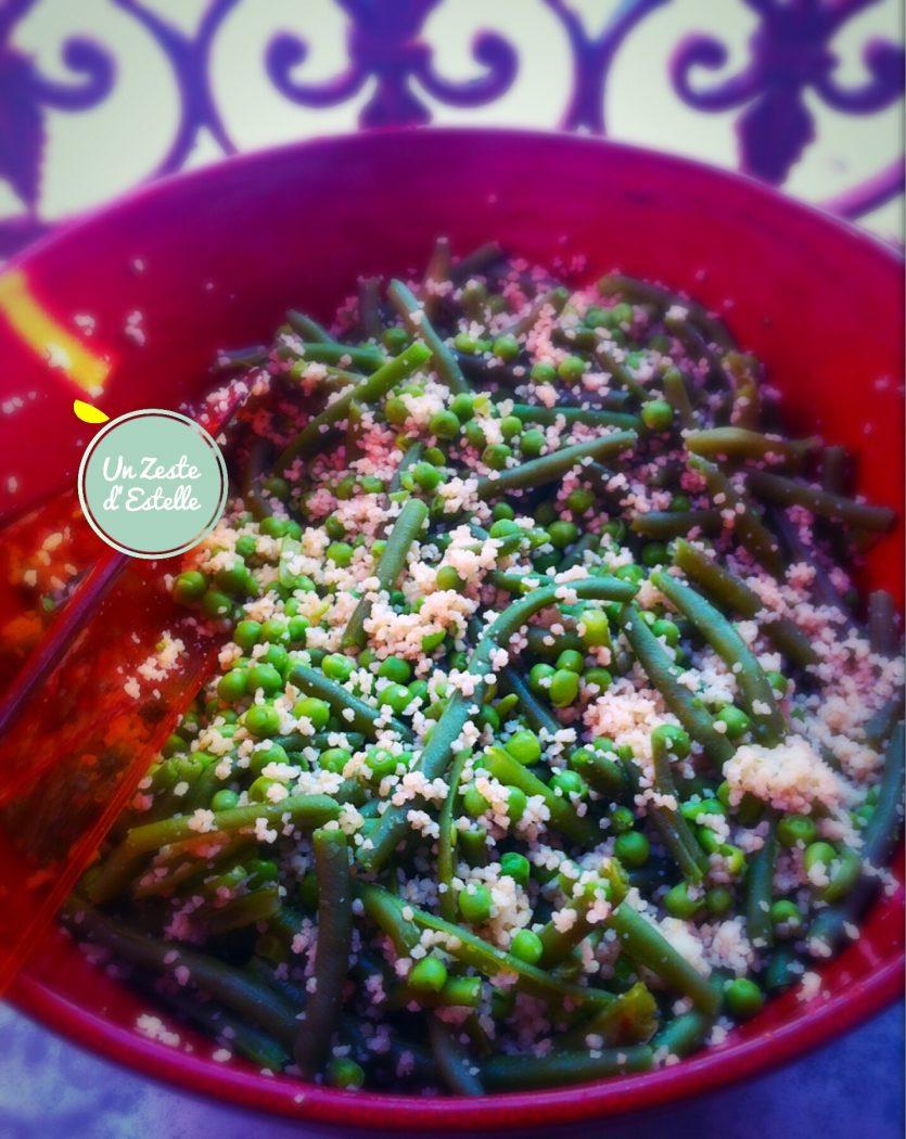 Salade de quinoa haricots verts petits pois