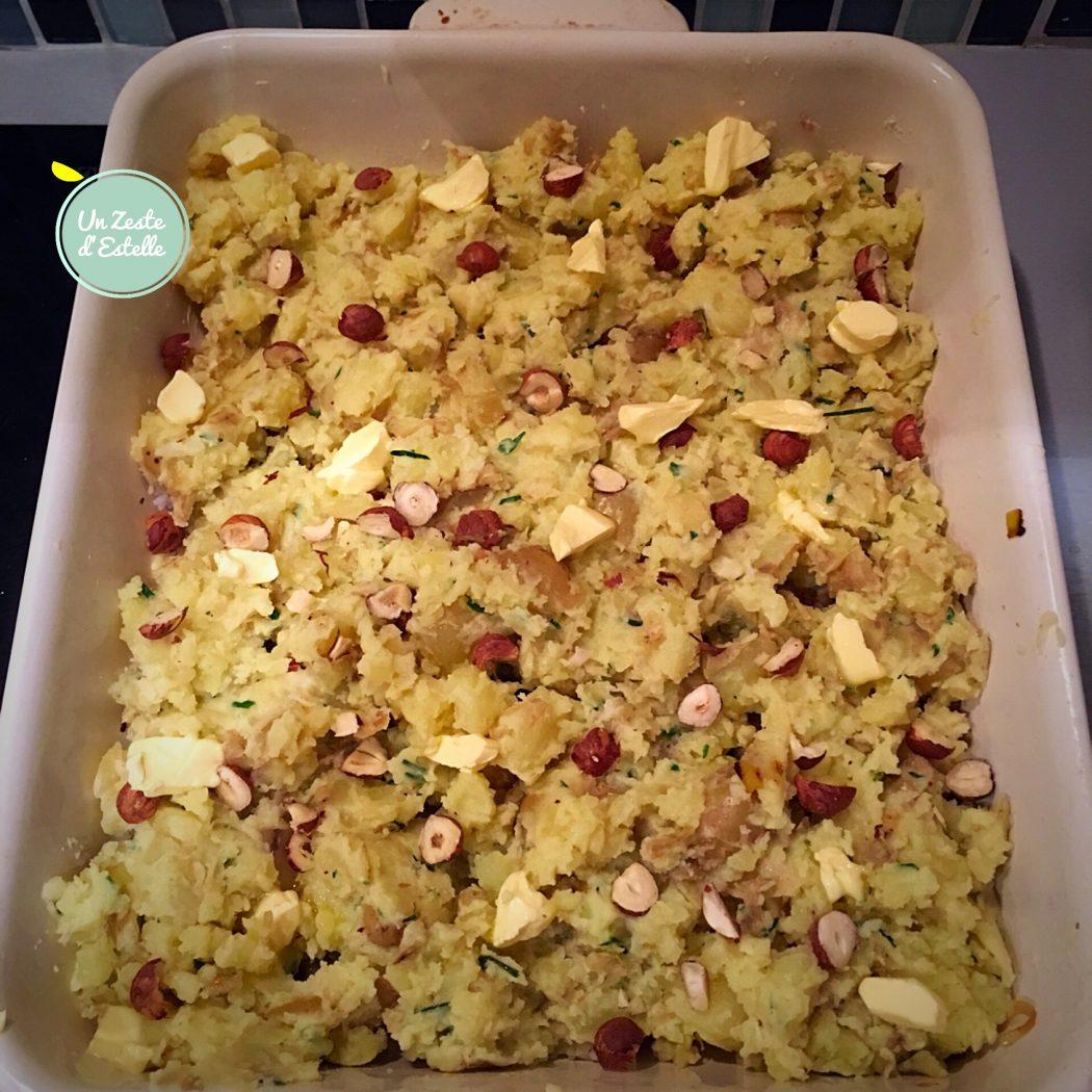 Gratin de colin poireaux pommes de terre prêt à enfourner