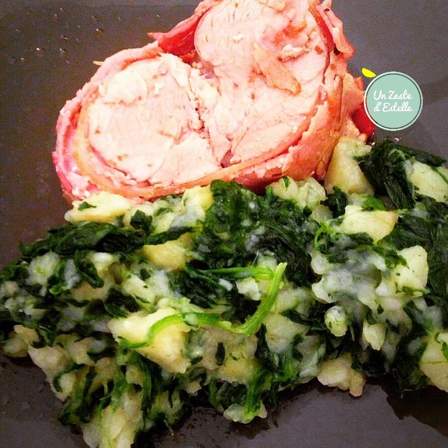 Rôti de filet mignon  au bacon et purée de pommes de terre et épinards