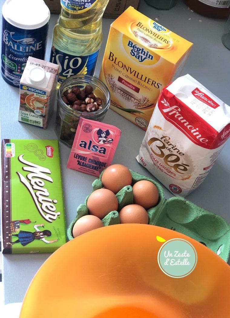 Ingrédients pour 8 muffins chocolat noisettes