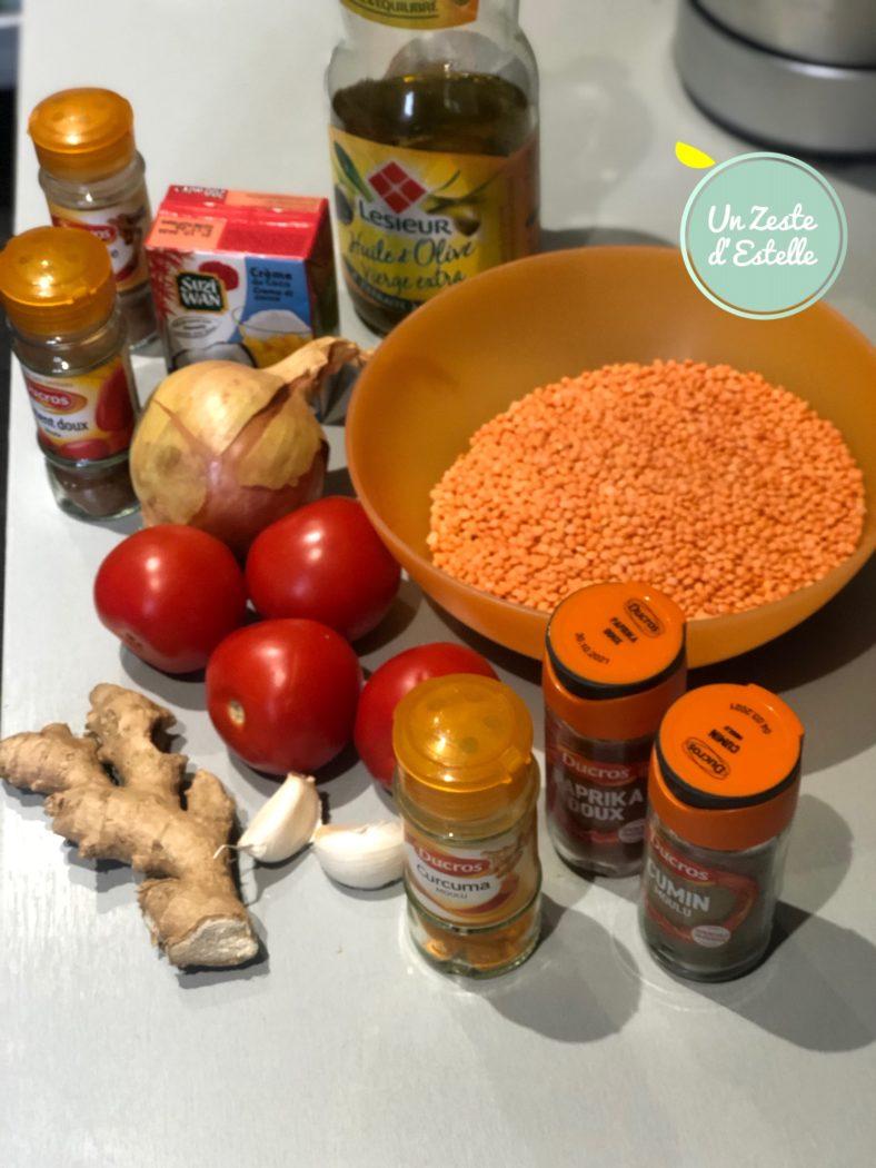 Les ingrédients du dahl de lentilles corail