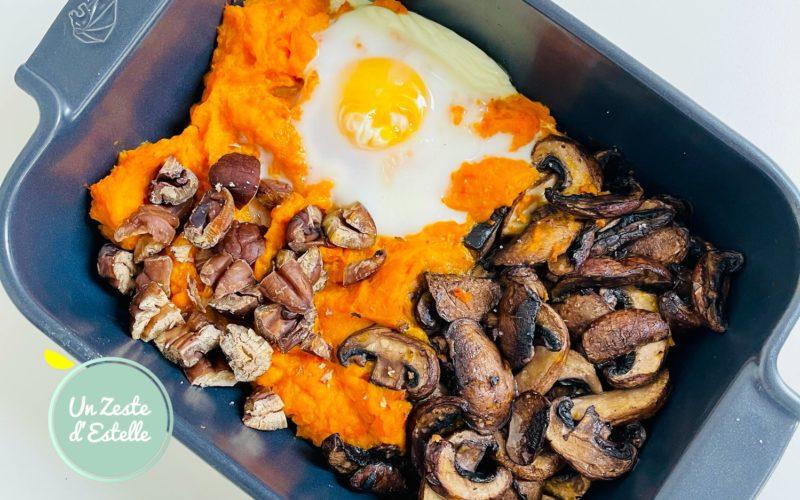 œuf cocotte au potimarron et châtaignes