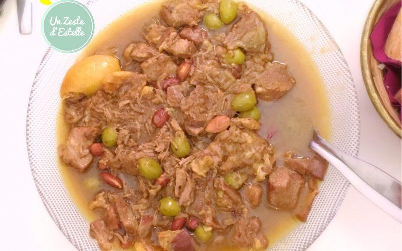 Tagine d'agneau au citron, amandes et olives