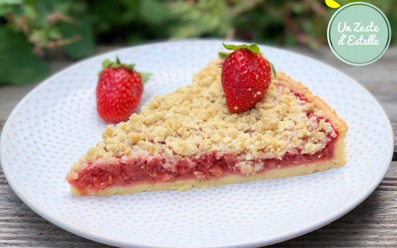 Tarte crumble fraises rhubarbe